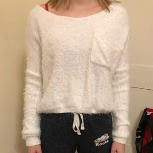 White shein fuzzy sweater